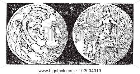 Tetradrachm, vintage engraved illustration. Dictionary of words and things - Larive and Fleury - 1895.