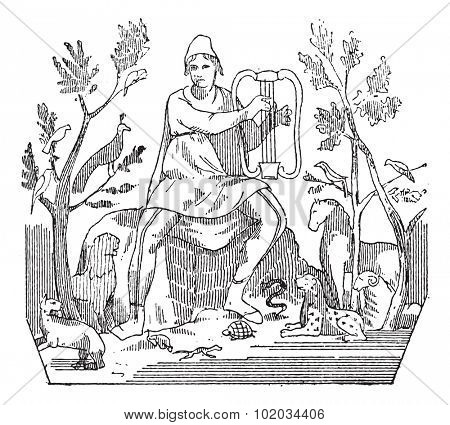 Orpheus attracting wild animals to the sound of his lyre, vintage engraved illustration. Dictionary of words and things - Larive and Fleury - 1895.