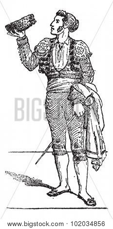 A Toreador or Torero or Toureiro, vintage engraved illustration. Dictionary of words and things - Larive and Fleury - 1895.