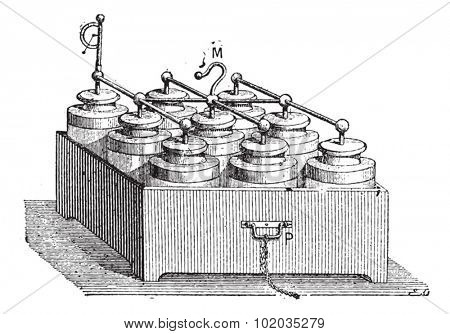 Electric Battery made up of Leyden Jars, vintage engraved illustration. Dictionary of Words and Things - Larive and Fleury - 1895