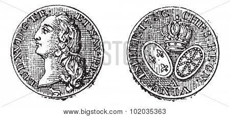 King Louis XV Gold Coin, front and back, vintage engraved illustration. Dictionary of Words and Things - Larive and Fleury - 1895