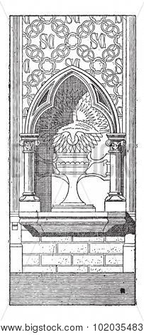 Lobe, shown is a 3-lobed niche at the Basilica of Saint Clotilde in Paris, France, vintage engraved illustration. Dictionary of Words and Things - Larive and Fleury - 1895