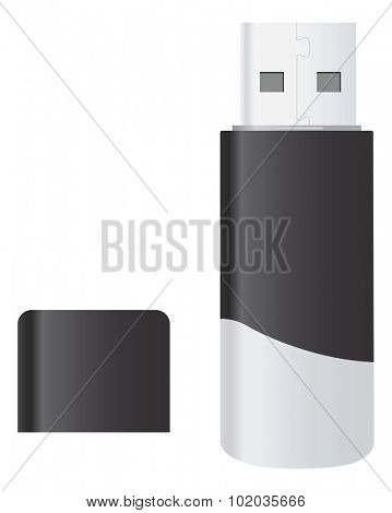 USB Flash Drive, Black and White, Color Illustration