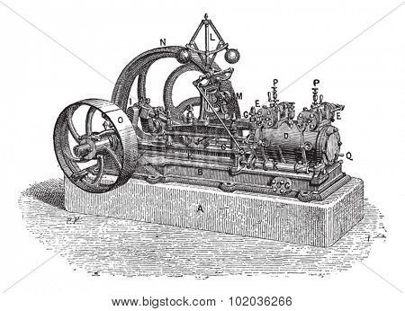 Horizontal Steam Engine, vintage engraved illustration. Dictionary of Words and Things - Larive and Fleury - 1895