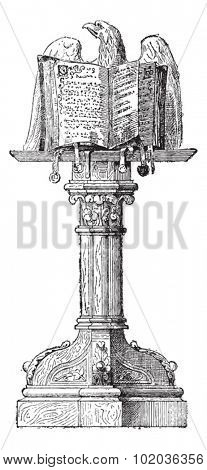 Lectern, vintage engraved illustration. Dictionary of words and things - Larive and Fleury - 1895.