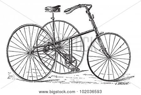 Velocipede, tricycle, vintage engraved illustration. Dictionary of words and things - Larive and Fleury - 1895.