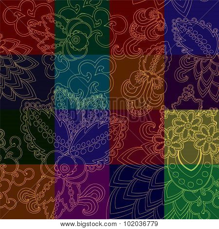 Seamless Patchwork Pattern With Gold Flowers