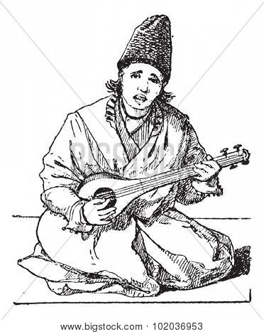 Old engraved illustration of a man playing Tar (lute). Dictionary of words and things - Larive and Fleury