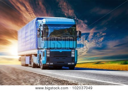Blue truck on highway