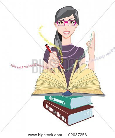 Word Meanings and Translations, Girl with Glasses with Reference Books, Holding a Red Pencil, vector illustration