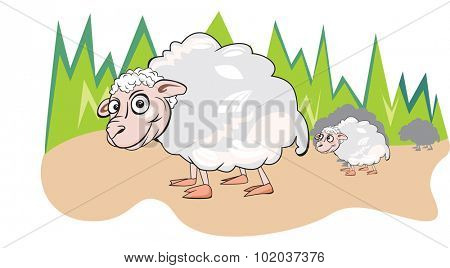 Sheep or Ovis aries, Herd, White, Smiling, Mother and Child, vector illustration