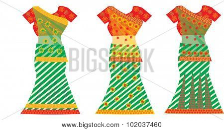 Indian Dresses, Female, Colorful Sari, Three, vector illustration