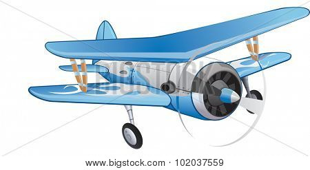 Biplane, Blue and White, Propeller-driven, vector illustration