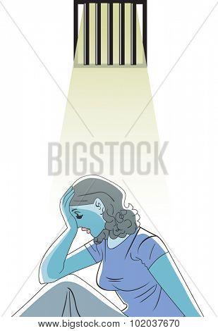 Sad woman in prison, vector illustration