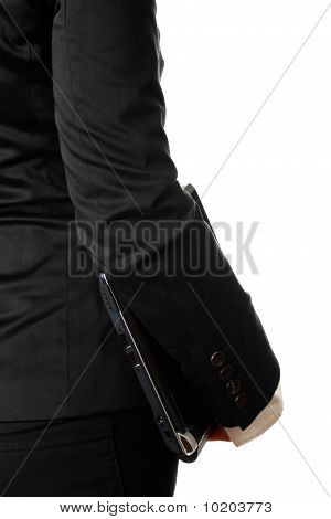 modern business woman with laptop. Close-up