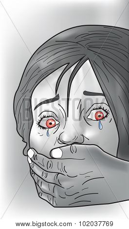 Kidnap victim, female, crying, strangers hand covering mouth, vector illustration