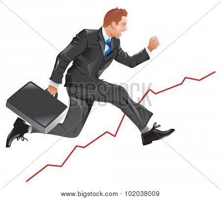 Financial success, running man with a briefcase, line graph uptrend, vector illustration