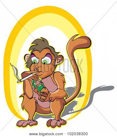 Monkey smoking, holding a lighter and cigarette stick, vector illustration