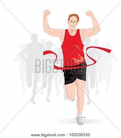 Running, male runner in red and black outfit crossing the finish line, vector illustration