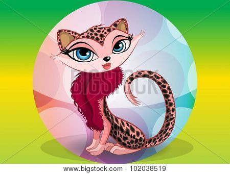 Lovely leopard, vector illustration
