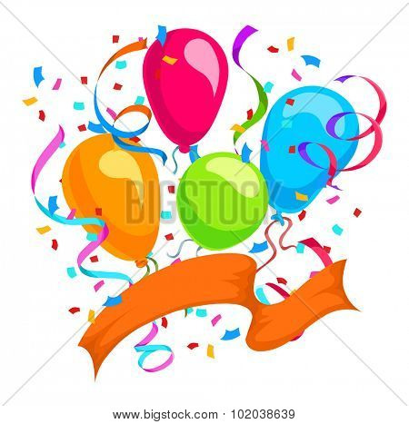 Celebration with balloons, ribbons, and confetti, vector illustration