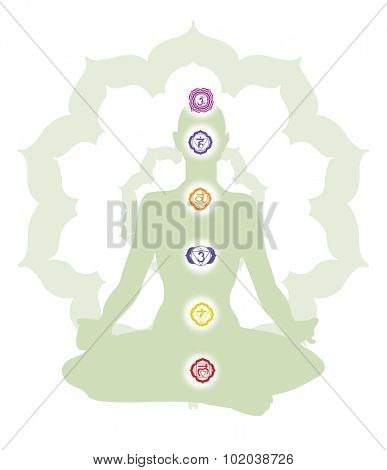 Wellness show a person meditating and their chakras, vector illustration