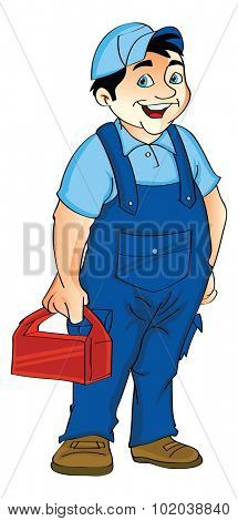 Man in a Jumpsuit Holding a Lunch Box, vector illustration