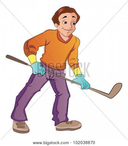 Man Playing Hockey, vector illustration