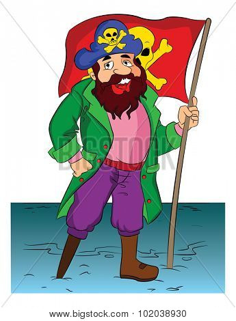 One-legged Bearded Pirate Holding a Flag, vector illustration