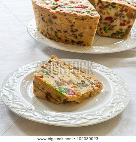 A slice of homemade fruitcake.