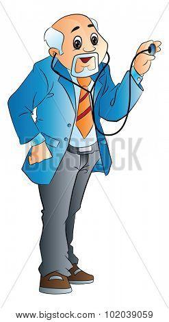 Old Male Doctor, vector illustration