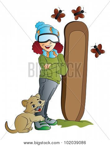 Young Woman Snowboarder with Cat and Butterflies, vector illustration