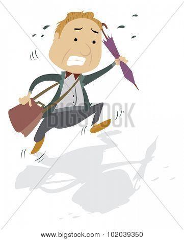 Frantic Man with a Bag and Umbrella, vector illustration