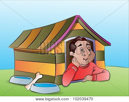 Man in a Dog House, vector illustration