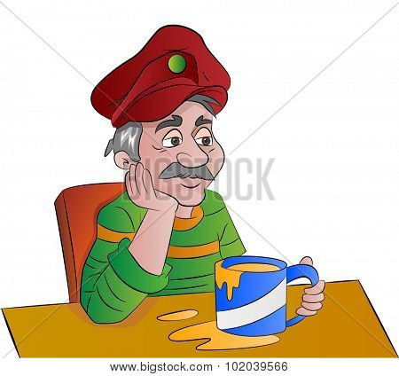 Man with a Cup of Drink, vector illustration