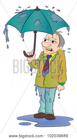 Man with a Small Umbrella and All Wet in the Rain, vector illustration