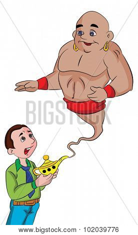 Man Summoning a Genie From a Magic Lamp, vector illustration