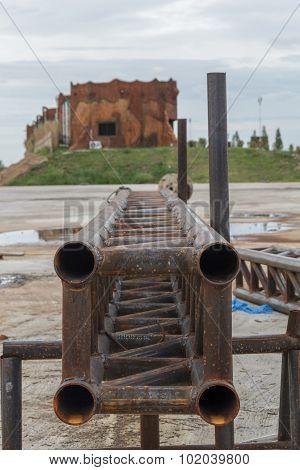 Metal pipes at site work