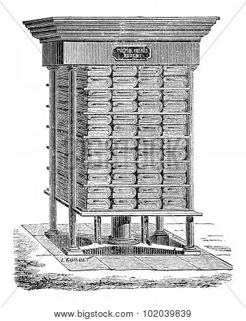 Hydraulic Press used in the Production of Tissue Paper, vintage engraved illustration. Industrial Encyclopedia - E.O. Lami - 1875