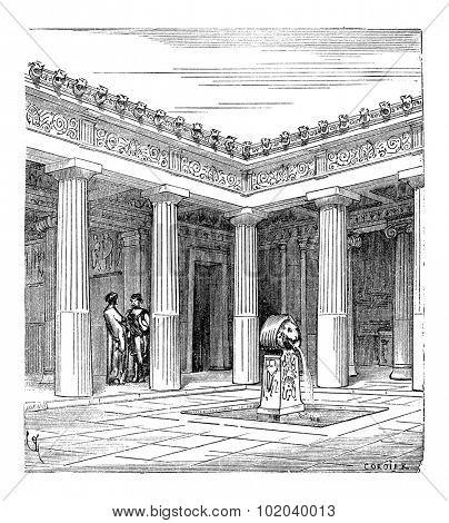 Greek Impluvium, vintage engraved illustration. Industrial Encyclopedia - E.O. Lami - 1875
