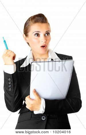 surprised modern business woman with  notebook got  idea