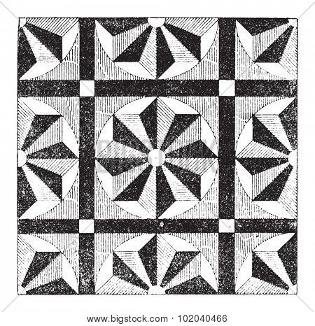 Mosaic, showing repeating pattern or design, vintage engraved illustration. Dictionary of Words and Things - Larive and Fleury - 1895
