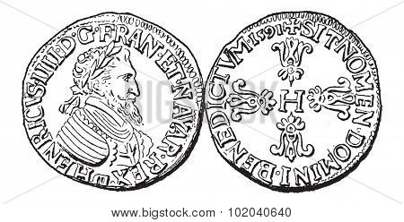Coin Currency, during the rule of Henry IV of France, vintage engraved illustration. Dictionary of Words and Things - Larive and Fleury - 1895