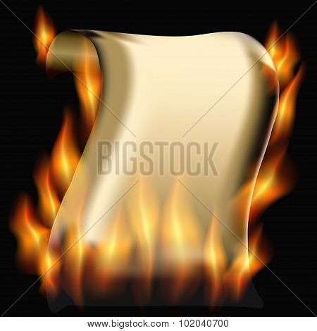 Burning Paper Scroll