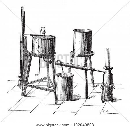 Experimental Setup to Measure the Maximum Elastic Force of Steam, vintage engraved illustration. Dictionary of Words and Things - Larive and Fleury - 1895