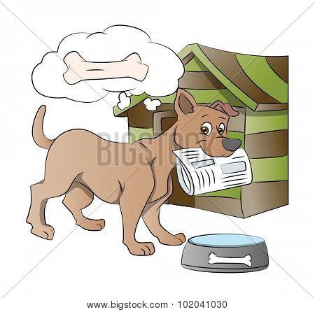 Dog Holding a Newspaper, Thinking of a Bone Reward, vector illustration
