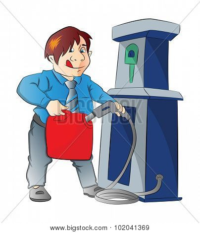 Man Pumping Gasoline into a Container, vector illustration