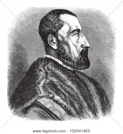 16th century (1557) engraving of Ogier Ghiselin de Busbecq, a Flemish Writer, Herbalist and Austrian Diplomat, vintage engraved illustration. Le Magasin Pittoresque - 1874