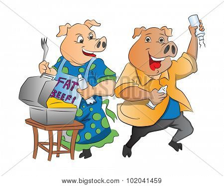 Two Pigs with Lunch Box and Whipped Cream, vector illustration