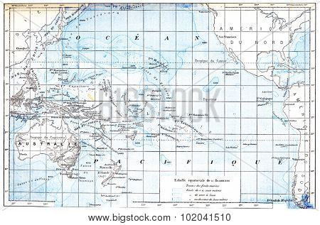 Map of the Pacific Ocean, vintage engraved illustration. Dictionary of Words and Things - Larive and Fleury - 1895